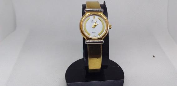 Relógio De Pulso Feminino Em Plaquê De Ouro Peniel Quartzo