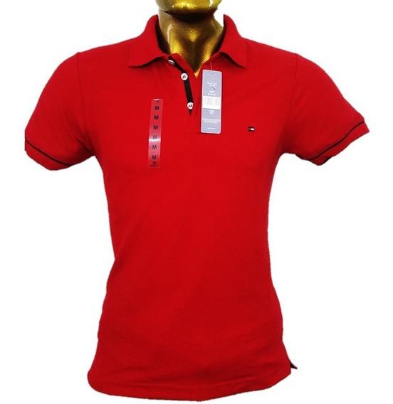 Playera Tipo Polo Tommy Color Rojo