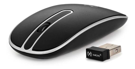 Mouse Mox Sem Fio Usb Plug And Play Me89 Preto Ergonômico