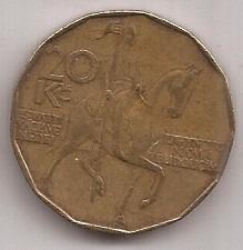 Republica Checa Moneda De 20 Coronas Año 1993 !