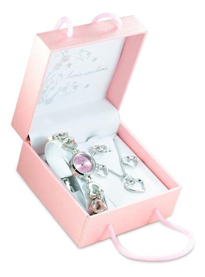 Set De Joyas Reloj+collar+aretes+anillo Modelo Rosado