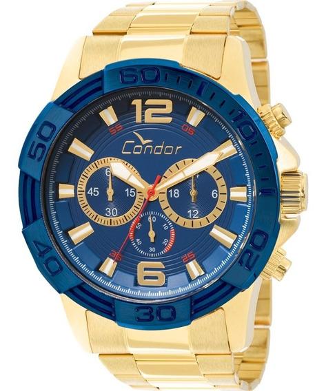 Relógio Cronógrafo Masc. Dourado Condor Covd54aa/4a Big Case