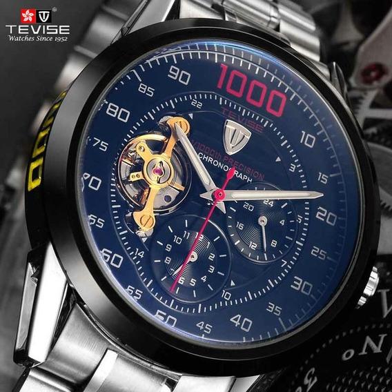 Relógio Masculino Automático Tevise Inox Original