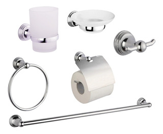 Set Kit Accesorios Para Baño 6 Piezas Cromado