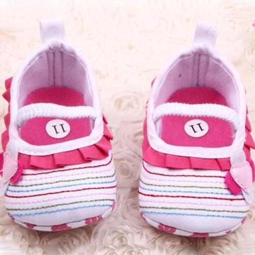 Sapato Soft Anti Slip Crib Flor Ruffled Walk Shoes 0-4meses