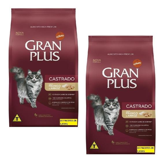 Kit 2un Ração Gran Plus Gatos Frango 10 Pacotes De 1kg Cada