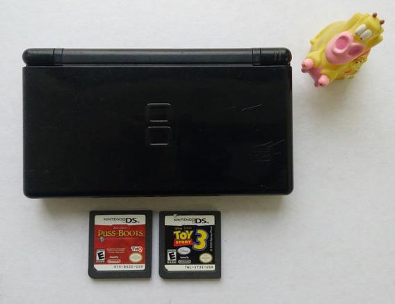 Consola Portátil Nintendo Ds Lite Negra + 2 Cartuchos