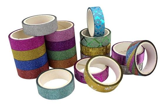 50 Fita Adesiva Decorativa C/ Glitter Festa Colorido