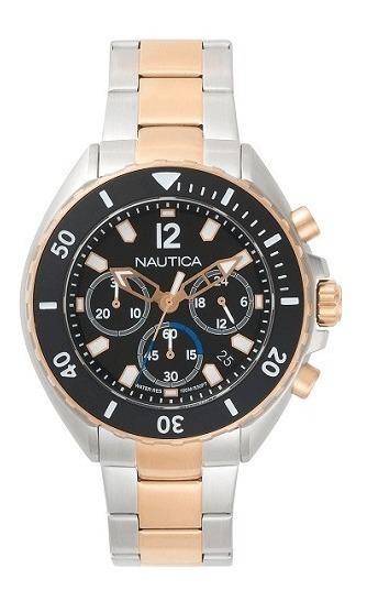 Relógio Nautica Masculino Aço Prateado E Rosé - Napnwp006