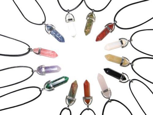 Collar Cuarzo Piedra Natural Dije. Colores Surtidos