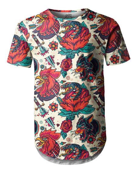 Camiseta Masculina Longline Swag Tatuagens Animais