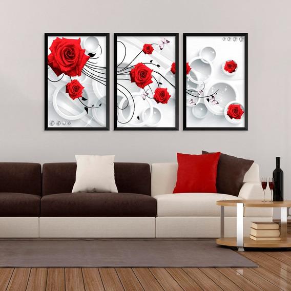 Quadro Flores Rosas Abstrato Vermelhas Decoração Sala Quarto