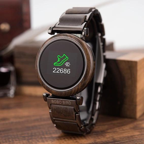 Relógio De Madeira E Aço Inox Touch Bobo Bird R27