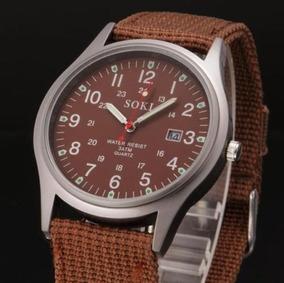 Relógio Militar Caixa De Aço Inox Pulseira De Lona