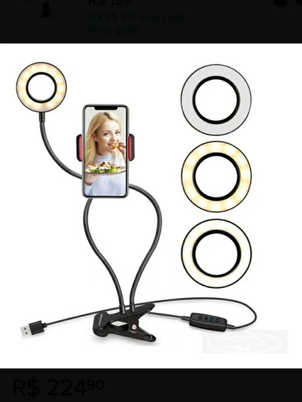 Iluminador De Led Com Suporte De Mesa Ring Light Live Pro