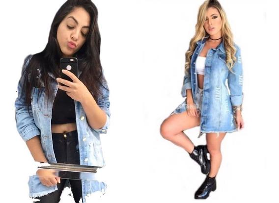 Max Jaqueta Jeans Feminina Tendência Blogueiras Rasgado