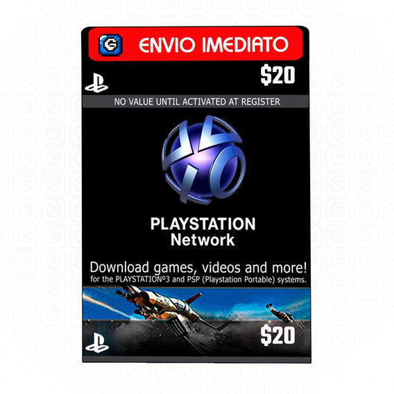 Cartão Psn $20 Dólares Usa Playstation Network Card Ps3 Ps4