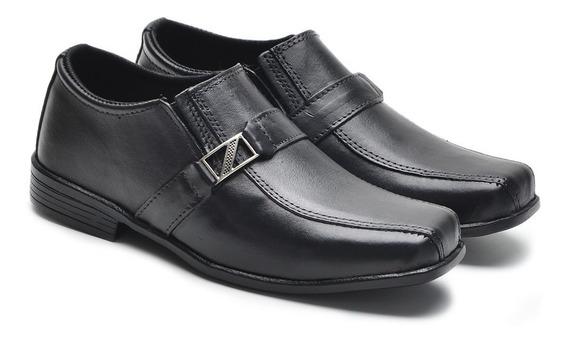 Sapato Social Infantil Preto Em Couro Fivela E Elástico Lado