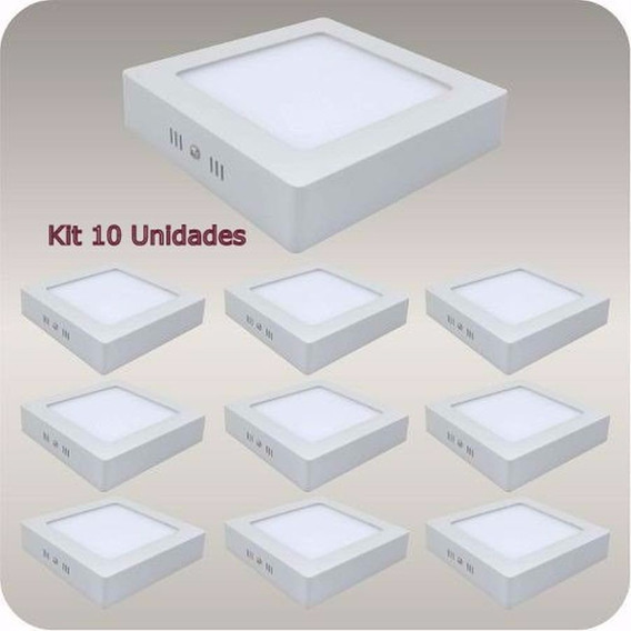 Kit 10 Plafons De Led Sobrepor 12w 17cm Quarto Sala Lavabo