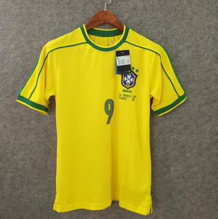 Jersey De Brasil Retro 1998 9# Ronaldo Home Jersey S-xl