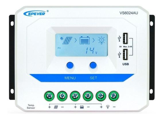 Controlador De Carga Solar Pwm 60a 12v 24v Lcd Usb Vs6024au Epever Automático