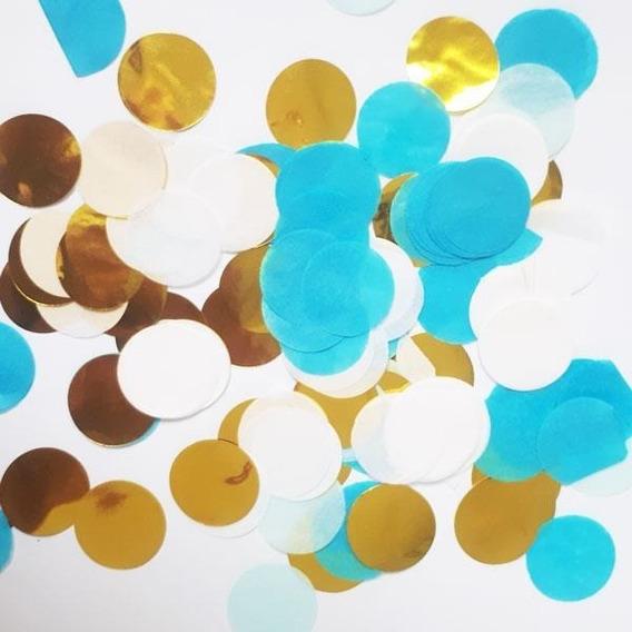 Confetti (círculos De Papel) Celeste, Blanco Y Dorado 250grs