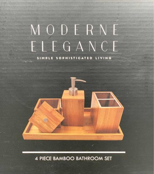 Set De Baño Y Tocador De Bambú 4 Piezas Moderne Elegance
