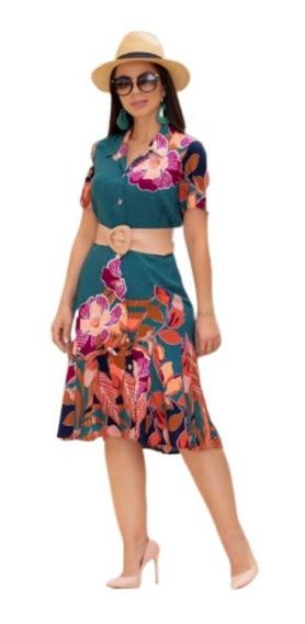 Vestidos Evangélico Floral Ellas Modas Moda Evangélica 1806