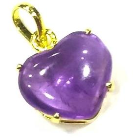 Pingente Coração Pedra Ametista Folheado À Ouro Delicado