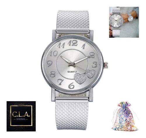 Imagen 1 de 7 de Reloj Mujer Cuarzo Acero Inoxidable  Hebilla C/ Bolsa Regalo