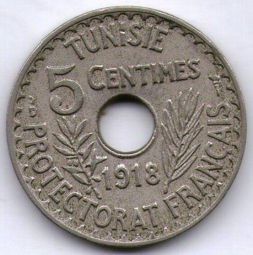Tunez Protectorado Frances Moneda 5 Centimes 1918 Km#242