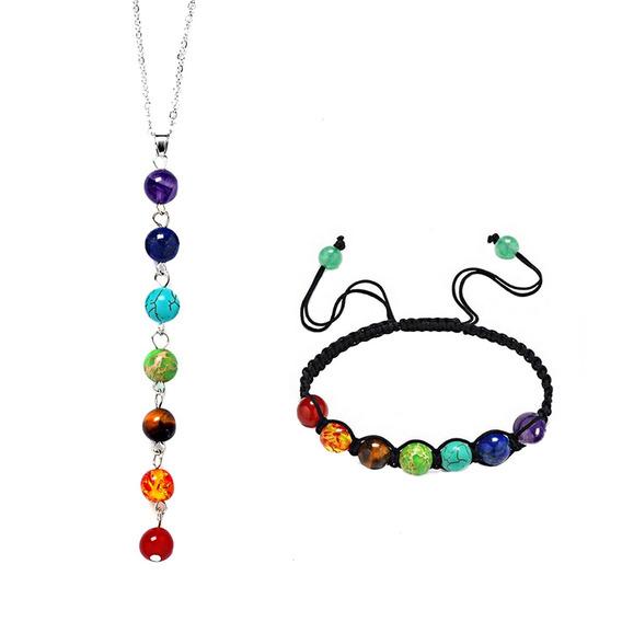 Collar Y Pulsera 7 Chakras Reiki Yoga Kundaliní