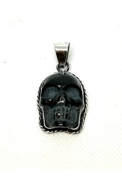 Dije Cráneo De Obsidiana En Plata
