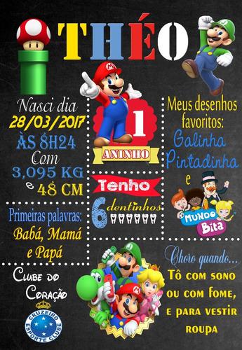 Imagem 1 de 2 de Quadro Chalkboard + Convite Digital Whats Super Mário Bros