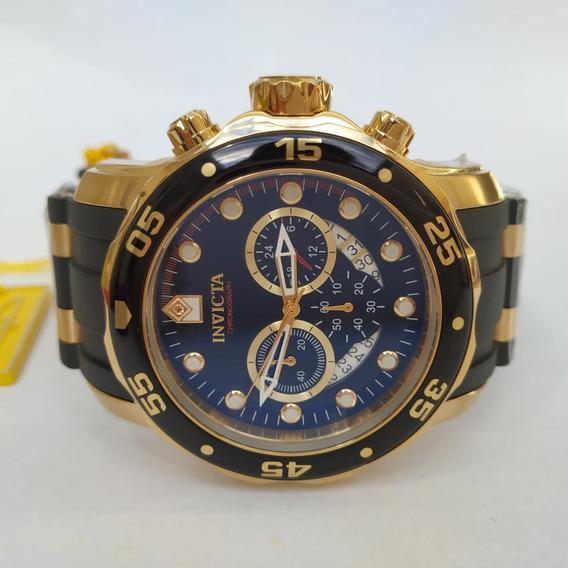 Relógio Invicta Preto 6981 B. Ouro 18k Original
