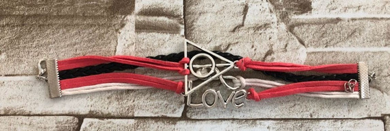 Pulseira Feminina Bracelete Couro Rosa Branco Love Triangulo