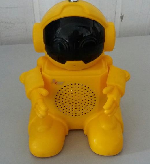 Caixa Som Usb Robot Amarelo C/antena Receptor Rádio