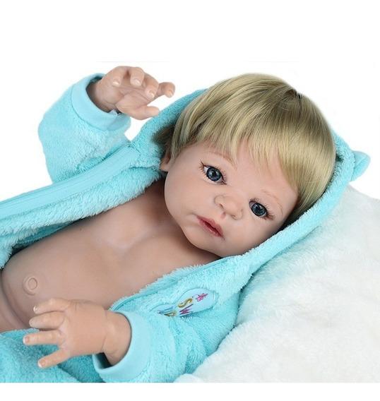 Só Hoje Bebe Reborn Menino Loiro Silicone Pode Banho 12x M14