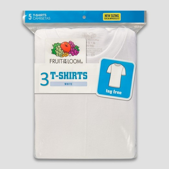 Fruit Of The Loom Playera Niño Blanca 3 Pack
