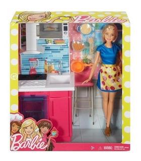 Barbie Set De Cocina Muñeca Y Muebles
