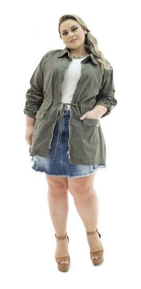 Parka Jeans Feminina Jaqueta Militar Grande Plus Size Bzj065