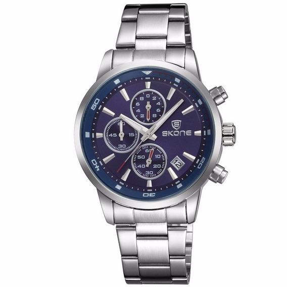 Relógio Skone Azul 7390eg - Pronta Entrega - Frete Grátis