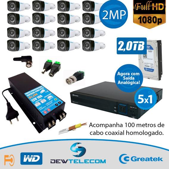 Kit Cftv 16 Cameras Completo Fullhd 1080p Greatek