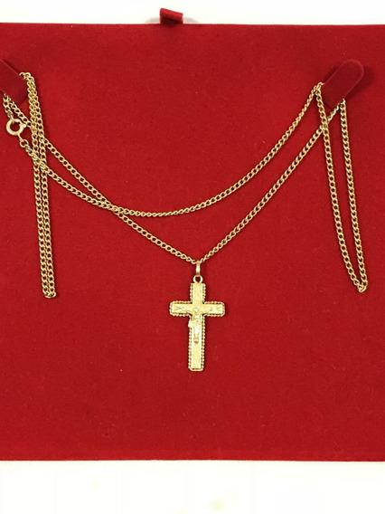 Conjunto: Colar E Pingente Crucifixo Ouro 18k-12.7 Gr. 65cm