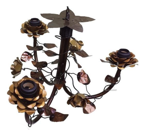 Lustre Ferro 3 Lâmpadas Decoração Flores Rústico Artesanal