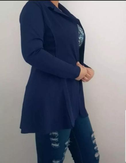 Kit 3 Max Blazer Longo Comprido Social Neopreme Feminino
