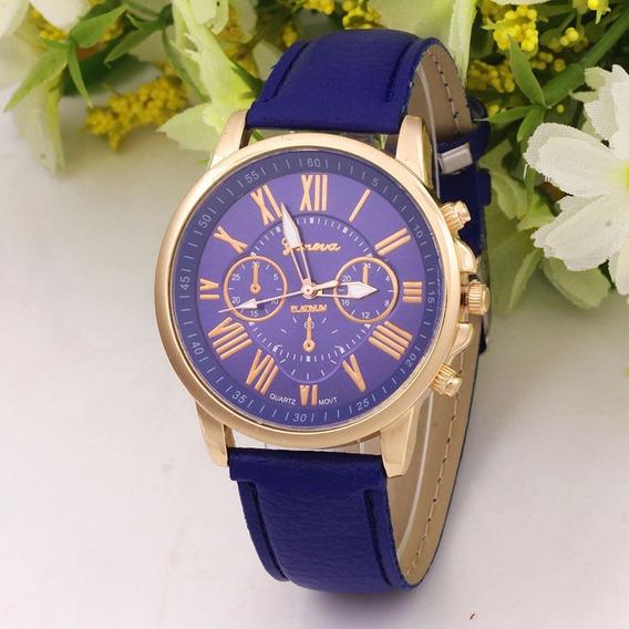 Relógio Feminino Marca Geneva Algarismos Romanos Cor Azul.