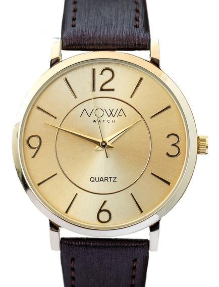 Relógio Nowa Feminino Dourado Couro Nw1413k Original