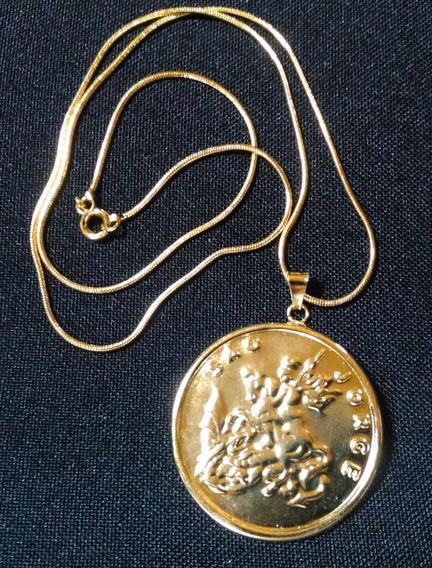 Gargantilha Medalha São Jorge Novo Folheado