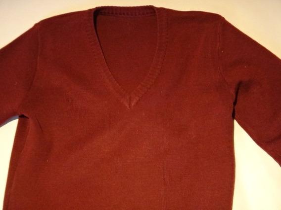 Sweater Escolar Escote V Bordo Talle 6 (quilmes)
